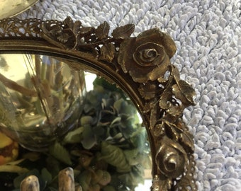 Vintage Brass Rose Mirror Jewelry Tray Set