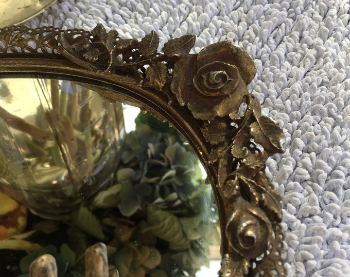 Vintage Brass Rose Mirror Jewelry Tray Set