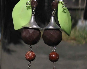 Insouciant Studios Oak blossom Earrings Sterling Silver Faceted Agate Gaspeite Leaf Copper Goldstone