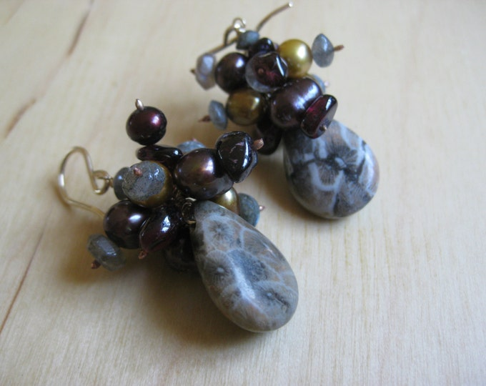 Insouciant Studios Cora Fossil Coral Earrings in Gold and Gray
