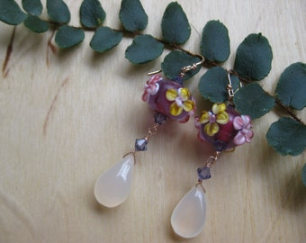 Insouciant Studios Pink Spring Earrings Floral Lampwork