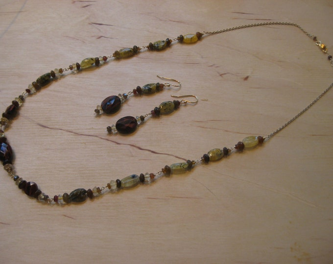 Insouciant Studios Grasslands Necklace and Earrings Set Tigers Eye