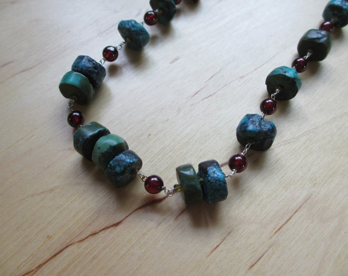 Insouciant Studios Lakeside Necklace Natural Turquoise and Garnet