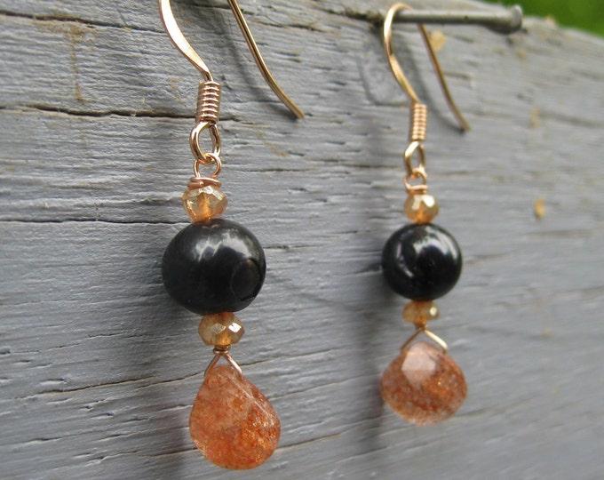 Insouciant Studios Ember Earrings Black Pearl and Oregon Sunstone