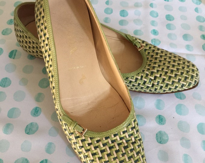 Intreccatio woven leather Prada flats