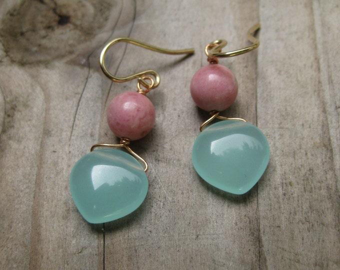 GMD Manzanita Earrings Chalcedony and Rhodochrosite