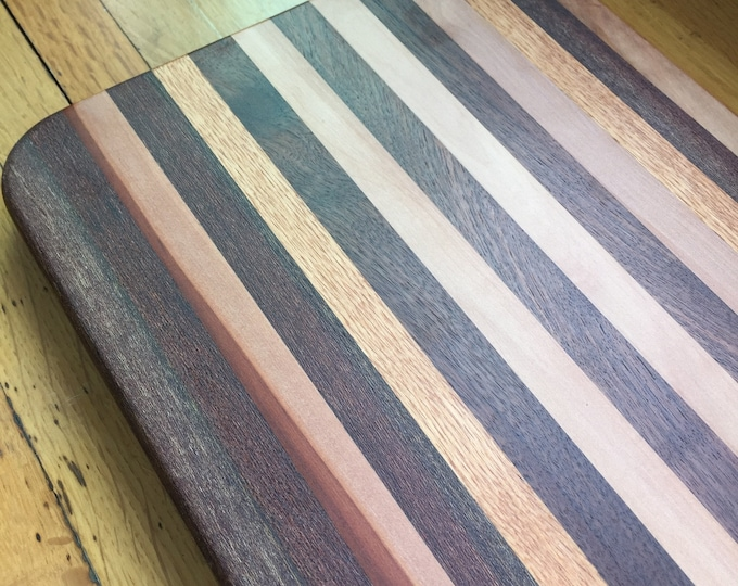 Large Mahogany, Walnut, Oak, and Madrone Cutting and Serving Board