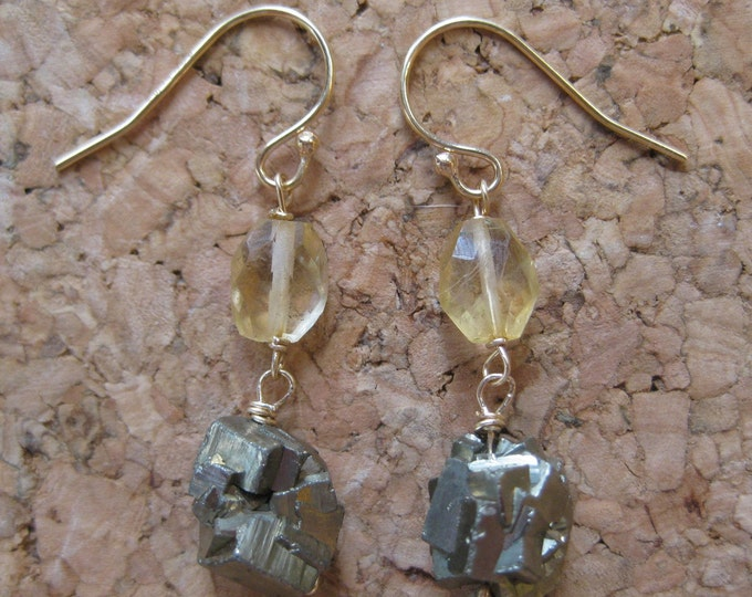 Insouciant Studios Totem Earrings Citrine and Pyrite