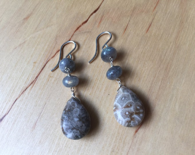 Insouciant Studios Greige Earrings Fossil Coral and Labradorite