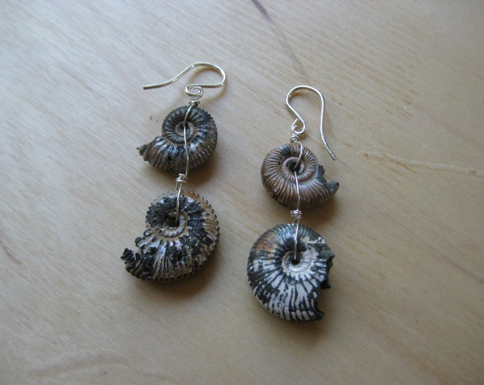 Insouciant Studios Sterling Pyrite Ammonite Earrings