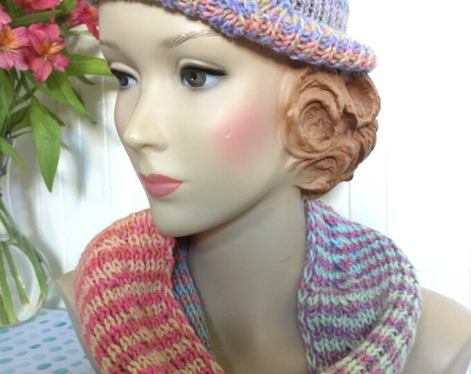 Insouciant Studios Hand Knit Pastel Cabled Hat and Scarf Set