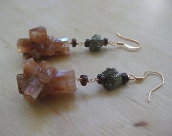 Insouciant Studios Stardust Earrings Aragonite Garnet Pyrite