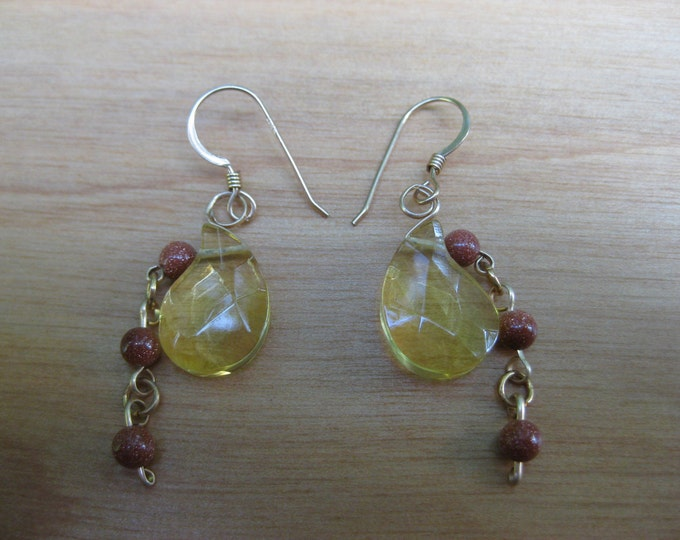 Insouciant Studios Partridge Earrings Citrine and Copper Goldstone