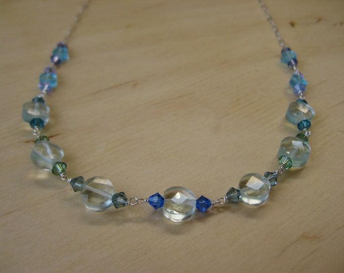 Insouciant Studios Flow Necklace Aqua Quartz and Swarovski Crystals