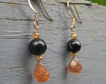Insouciant Studios Ember Earrings Black Pearl and Oregon Sunstone