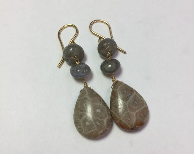 Insouciant Studios Golding Earrings Fossil Coral and Pyrite