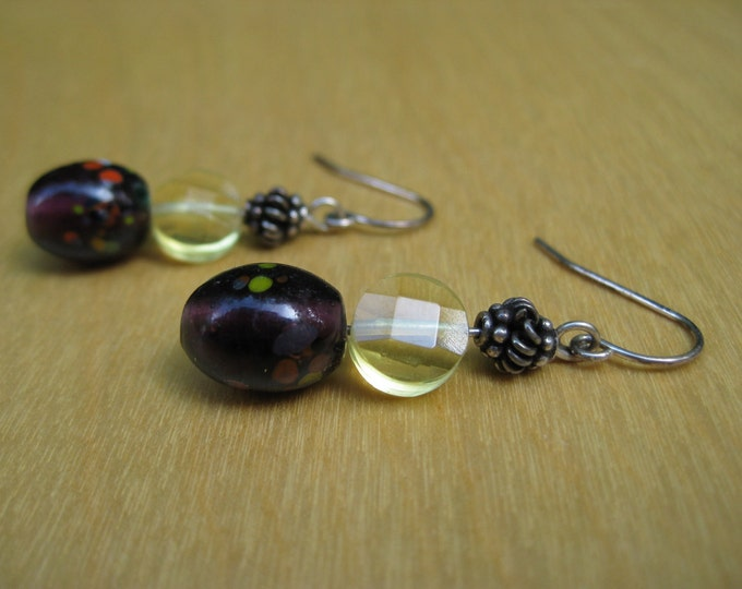 Insouciant Studios Fireside Earrings Citrine and Lampwork Glass