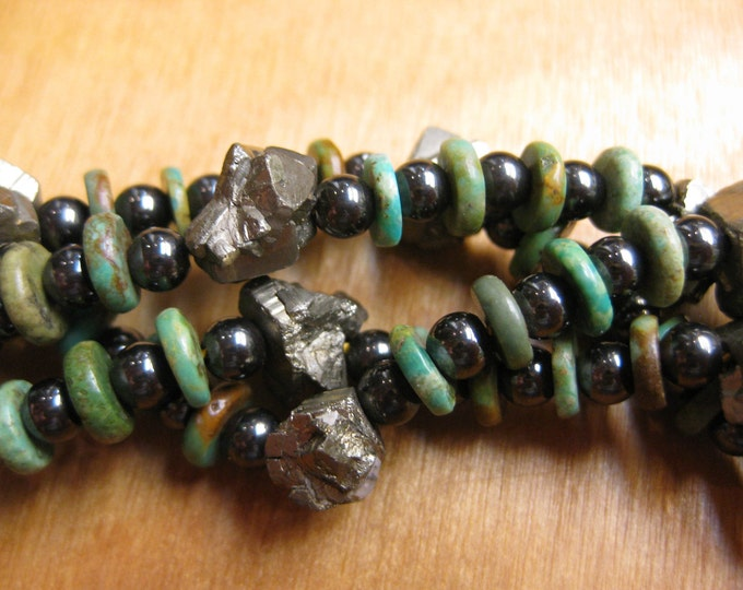 Insouciant Studios Wanderer Necklace Turquoise Pyrite Hematite