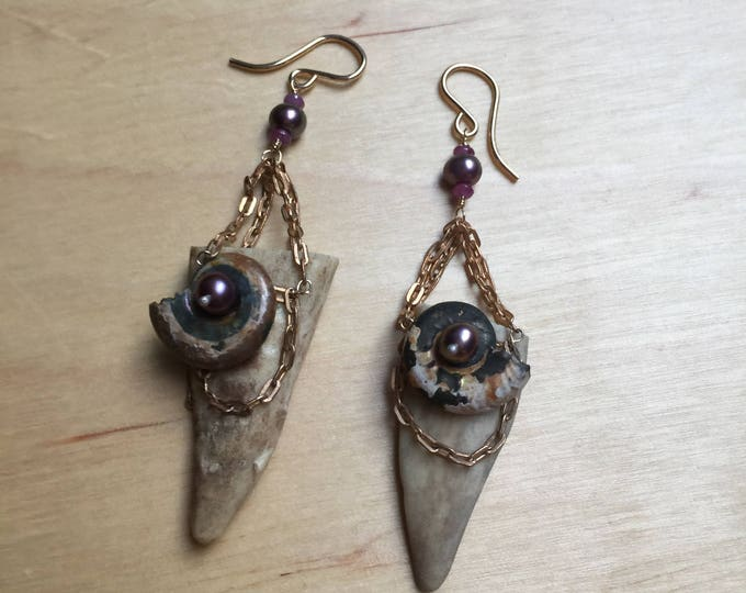 Insouciant Studios Woodland Queen Earrings Antler Ammonite and Pearl