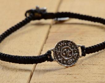 Livelihood  and Business Amulet on Hand Woven Black Charm Bracelet for Men, King Solomon Charm Bracelet