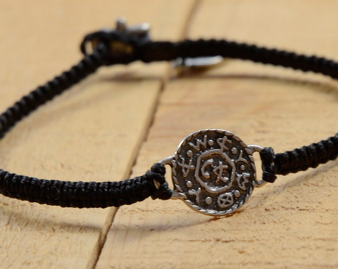 Livelihood  and Business Amulet on Hand Woven Black Charm Bracelet for Men, King Solomon Charm Bracelet