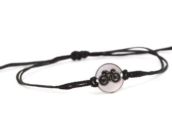Black Strand with Stainless Steel Bicycle Charm, Adjustable Bracelet for Men & Women - Waterproof, Hypoallergenic Jewelry