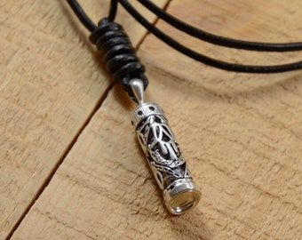 Sterling Silver Mezuzah Pendant on Leather Necklace for Men and Women