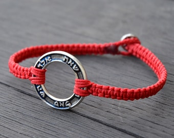 72 Names of God Round Charm for Health, Protection, Love and Prosperity on Red Macrame Bracelet for Men