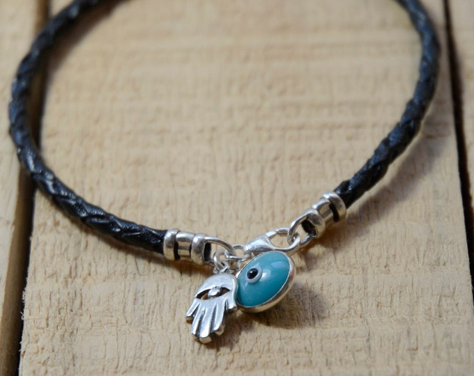 THE CLASSIC Evil Eye Charm Bracelet with Hamsa Hand in Sterling Silver on Black Braided Leather - Men Women