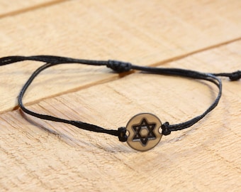 Black Strand with Stainless Steel Small Star of David Charm, Adjustable Bracelet for Men & Women - Waterproof, Hypoallergenic Jewelry
