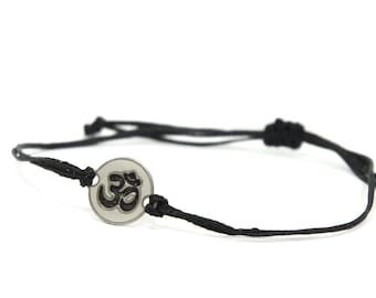Black Strand with Stainless Steel OM Yoga Charm, Adjustable Bracelet for Men & Women - Waterproof, Hypoallergenic Jewelry