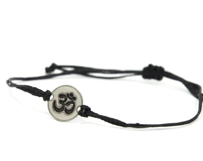 Black Strand with Stainless Steel OM Yoga Charm, Adjustable Bracelet for Men & Women - Waterproof, Hypoallergenic Jewelry
