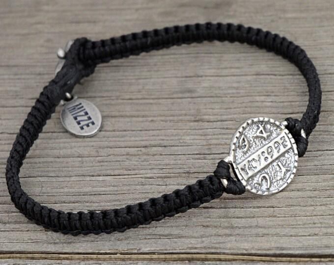 Health Amulet on Hand Woven Black String Bracelet - King Solomon Health Charm Bracelet for Men and Women