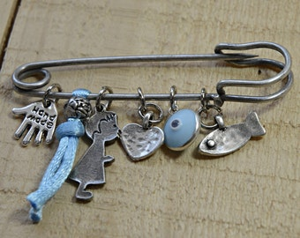 Blue Keepsake Brooch Baby Safety Pin with Protection Charms - Gift for Baby Boy