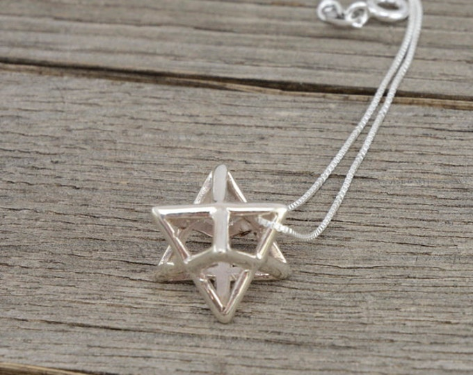 925 Sterling Silver Spiritual Healing and Protection Merkaba Necklace for Men & Women