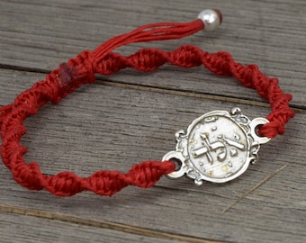 Men's ALD 72 Names of God Red Charm Bracelet for Protection from Evil Eye