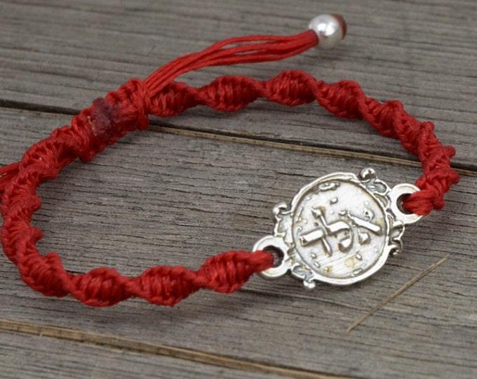 Men's ALD 72 Names of God Red Charm Bracelet for Protection from Evil Eye