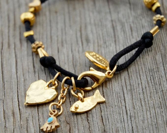 Black & Gold 72 Names of God Cube Charm Bracelet Kabbalah Bracelet for Women