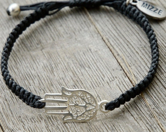 Adjustable Black Cotton Bracelet with Middle Eastern Hamsa Hand Charm in Silver - Men Women