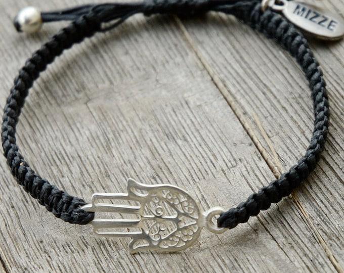 Adjustable Black Cotton Bracelet with Middle Eastern Hamsa Hand Charm in Silver - Bracelet for Men