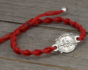 72 Names of God Evil Eye Protection Amulet in 925 Silver on Red Twisted Bracelet - Adjustable