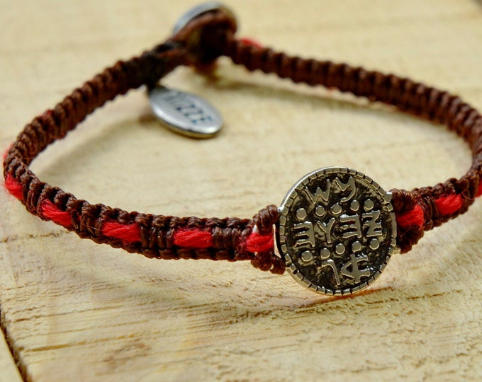 925 Sterling Silver Wishes Amulet on Handwoven Macrame Bracelet with the Original Red Kabbalah String Woven In - Bracelet for Men & Women