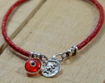 Unisex Red Leather Kabbalah Protection Bracelet