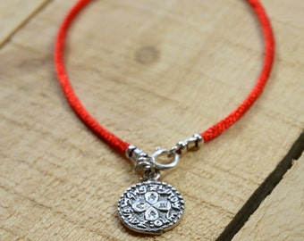 Handmade 925 Sterling Silver Love Amulet on Red Silk String Bracelet - Men & Women