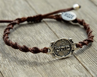 Unisex 72 Names of God Charm Hand Woven Brown Bracelet for Good Health