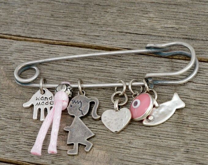 Pink Baby Evil Eye Pin Brooch Keepsake with Lucky Protection Charms for New Baby Girl