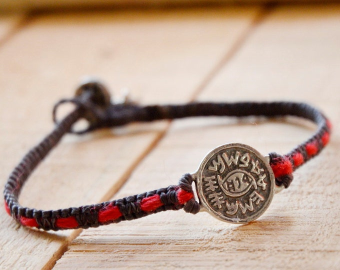 Evil Eye Protection 925 Sterling Silver Amulet Handmade with Red String Woven into Black Macrame Bracelet for Men and Women- VERY DURABLE