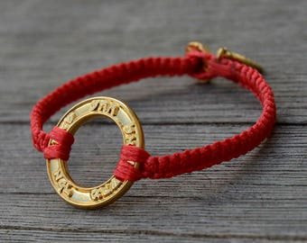 Good Fortune & Health Gold Plated Charm on Red Macrame Bracelet - Handmade for Men and Women