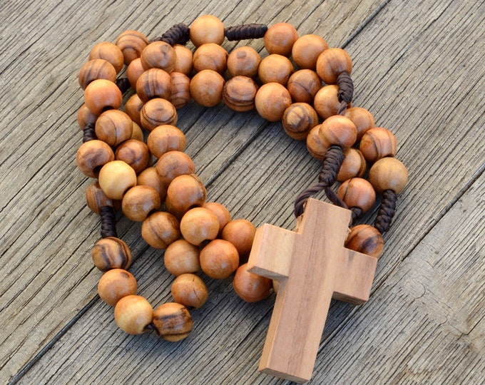 Bethlehem Certified Rosary Beads from Olive Wood - Our Father Christian Catholic Wooden Prayer Beads