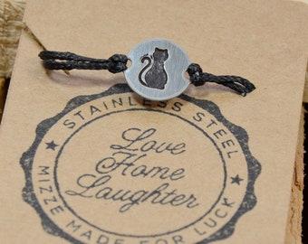 Black Strand Stainless Steel CAT Lovers Charm Adjustable Bracelet for Men & Women - Waterproof, Hypoallergenic Jewelry